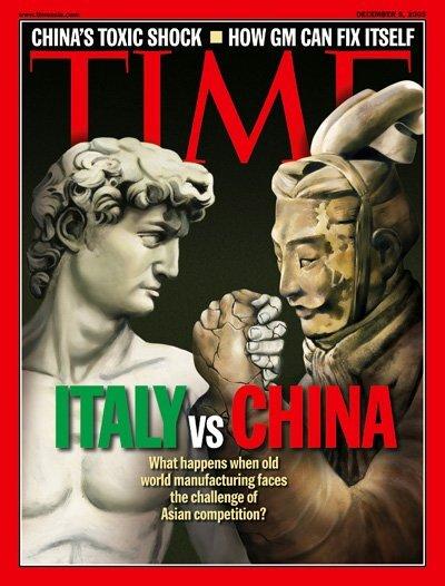 Italia vs Cina copertina del Times
